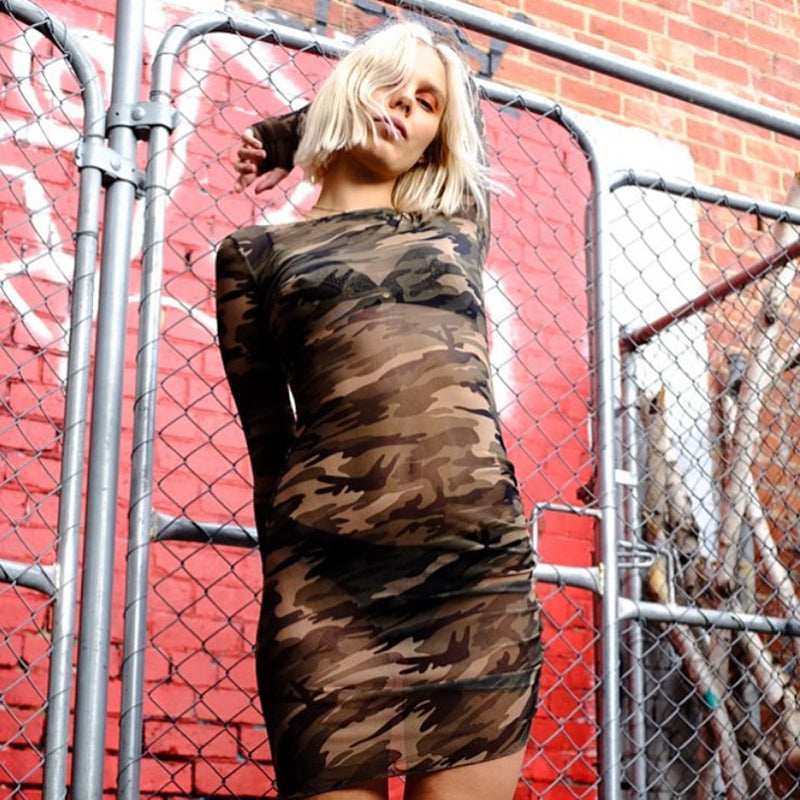 CAMO PRINT MESH LONG SLEEVED BODYCON DRESS