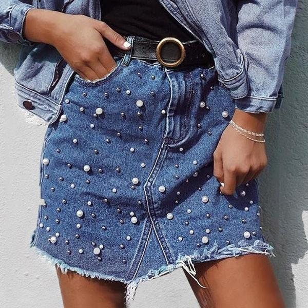 PEARL BEADED FRINGED HEM DENIM SKIRT
