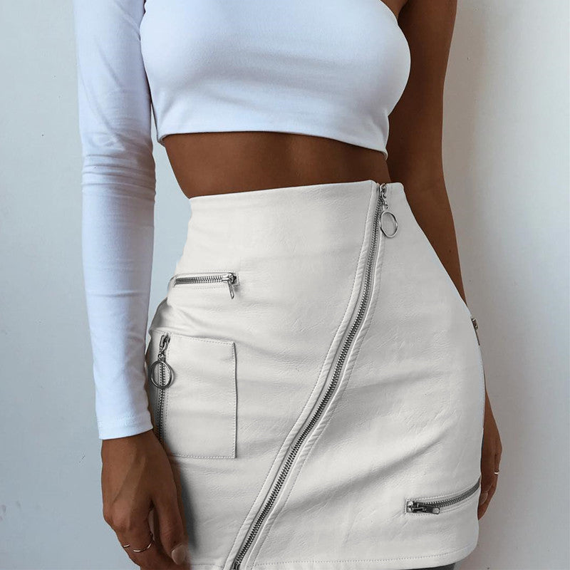 PU LEATHER HIGH WAIST FRONT ZIP SKIRT