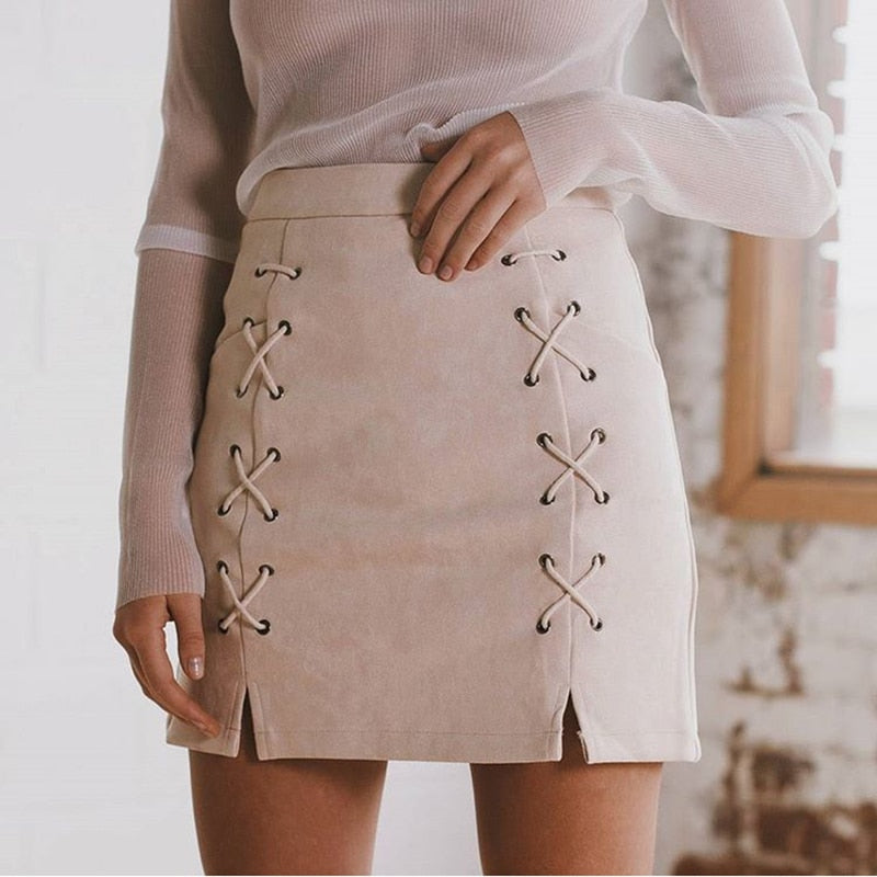 SUEDE SKIRT WITH EYELET LACES