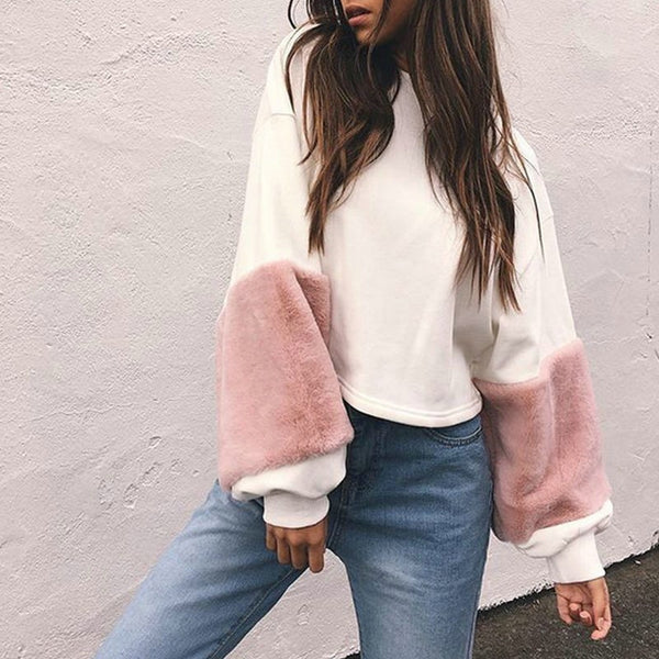 FAUX FUR SLEEVE SWEATER