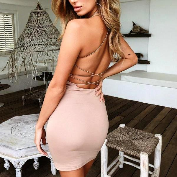 CROSS BANDAGE BACKLESS DRESS