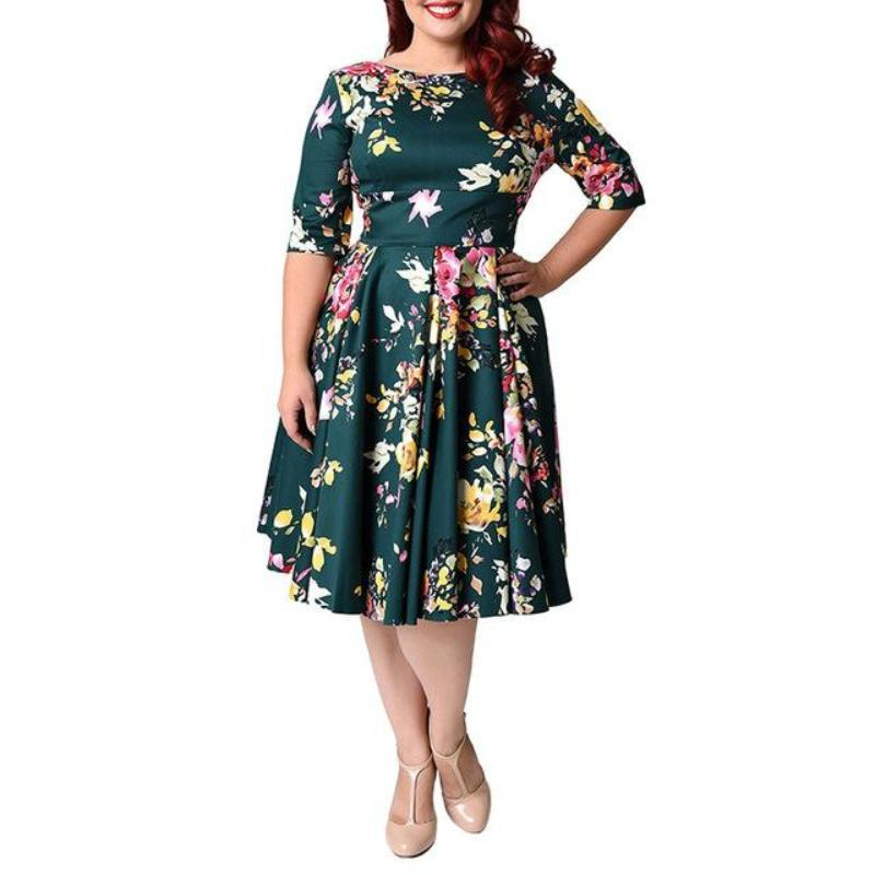 Clothing Plus Size Back Zipper Floral Printed Tunic Swing Dresses