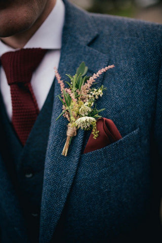 Rustic Skinny Wedding Groomsmen Herringbone Tweed