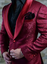 Airtailors Burgundy Paisley Pattern Shawl Lapel Dinner Jacket