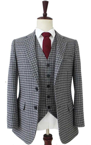 AIRTAILORS GREY HOUNDSTOOTH TWEED JACKET 3 PICECES