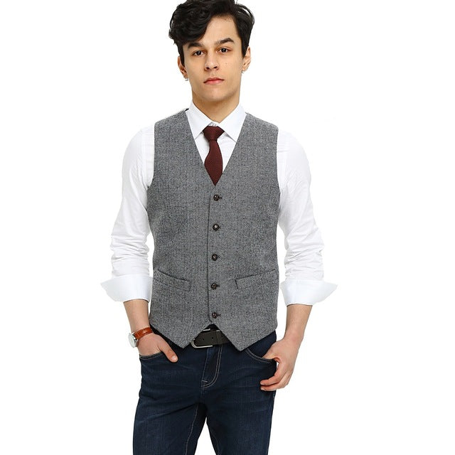 mens gray herringbone tweed vest Front