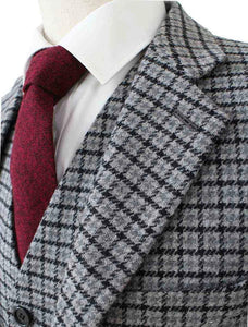 AIRTAILORS™ GREY HOUNDSTOOTH TWEED JACKET 3 PICECES