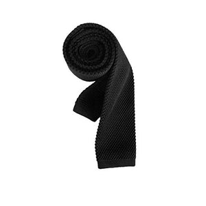 AIRTAILORS™ BLACK SKINNY KNIT NECKTIE FOR MEN - Airtailors