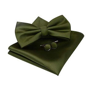 AIRTAILORS™ MENS OLIVE GREEN COLOR WEDDING BOWTIE - Airtailors