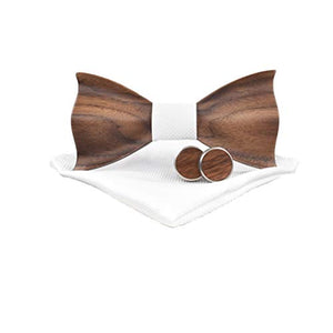 AIRTAILORS™ WOODEN BOWTIE WITH MATCHING POCKETSQUARE AND CUFFLINKS