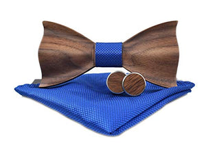 AIRTAILORS™ WOOD GREY BOWTIE WITH MATCHING POCKETSQUARE