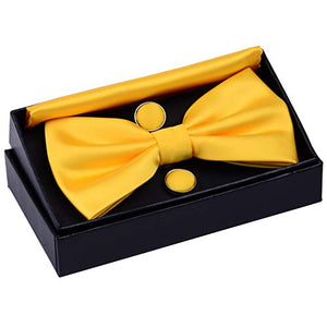 AIRTAILORS™ MENS SOLID COLOR WEDDING BOWTIE GOLD - Airtailors