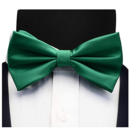 AIRTAILORS™ MENS SOLID COLOR WEDDING BOWTIE EMERALD GREEN