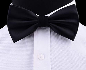 AIRTAILORS™ MENS BlACK SOLID COLOR WEDDING BOWTIE - Airtailors