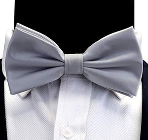 AIRTAILORS™ MENS SLIVER GRAY SOLID COLOR WEDDING BOWTIE