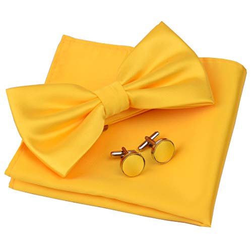 AIRTAILORS™ MENS SOLID COLOR WEDDING BOWTIE GOLD