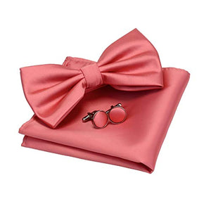 AIRTAILORS™ MENS SOLID CORAL PINK COLOR WEDDING BOWTIE - Airtailors