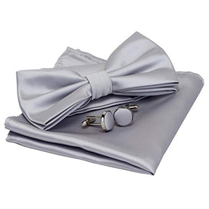 AIRTAILORS™ MENS SLIVER GRAY SOLID COLOR WEDDING BOWTIE - Airtailors