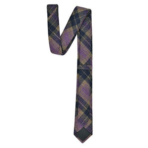 AIRTAILORS ™ MENS PURPLE CHECKED SKINNY WOOLEN NECK TIE