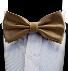 AIRTAILORS™ MENS CHAMPAGNE SOLID COLOR WEDDING BOWTIE