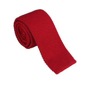 AIRTAILORS™ BRIGHT RED SKINNY KNIT NECKTIE FOR MEN - Airtailors