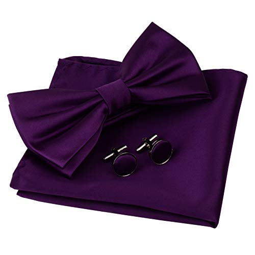 AIRTAILORS™ MENS SOLID PURPLE COLOR WEDDING BOWTIE