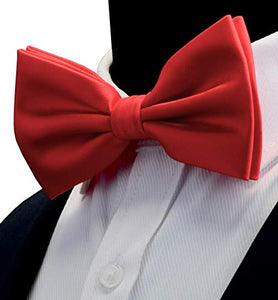 AIRTAILORS™ MENS SLIVER RED COLOR WEDDING BOWTIE - Airtailors