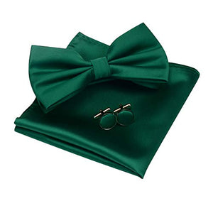 AIRTAILORS™ MENS SOLID COLOR WEDDING BOWTIE EMERALD GREEN - Airtailors