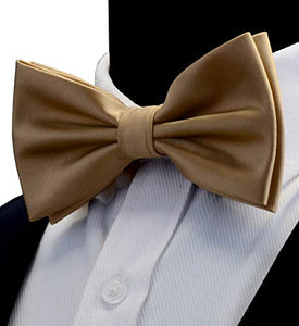 AIRTAILORS™ MENS CHAMPAGNE SOLID COLOR WEDDING BOWTIE - Airtailors
