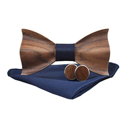 AIRTAILORS™ WOOD DARK BLUE BOWTIE WITH MATCHING POCKETSQUARE