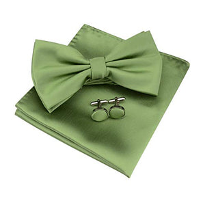 AIRTAILORS™ MENS AVOCADO GREEN SOLID COLOR WEDDING BOWTIE - Airtailors