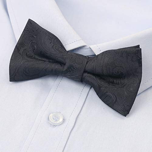 AIRTAILORS™  BOYS BLACK PAISLEY FLORAL STRAPPED  PRE-TIED KIDS BOWTIE
