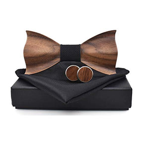 AIRTAILORS™ WOOD BLACK BOWTIE WITH MATCHING POCKETSQUARE