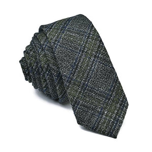 AIRTAILORS™ ARMY GREEN MENS CHECKED SKINNY WOOLEN NECKTIE BLUE