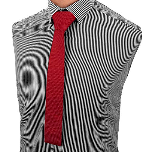AIRTAILORS™ BRIGHT RED SKINNY KNIT NECKTIE FOR MEN