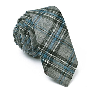 AIRTAILORS™ MENS CHECKED SKINNY WOOLEN NECKTIE BLUE - Airtailors
