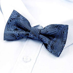 AIRTAILORS™ BOYS DARK NAVY PAISLEY FLORAL STRAPPED PRE-TIED KIDS BOWTIE