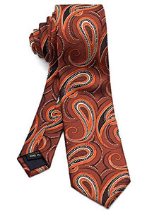 AIRTAILORS™ Men's Slim Skinny Necktie Paisley Pattern Orange