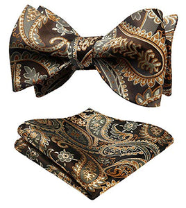 AIRTAILORS™Men's Paisley Jacquard Woven Self Bow Tie Set One Size Gold/Brown - Airtailors