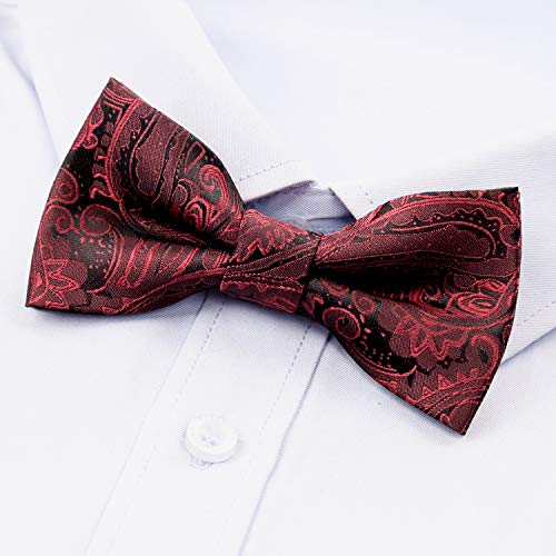 AIRTAILORS™ BOYS PAISLEY FLORAL STRAPPED BOWTIE MAROON