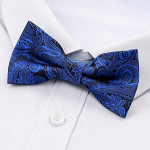 AIRTAILORS ™ Boys Paisley Floral Strapped Pre-tied Kids BowTie Blue