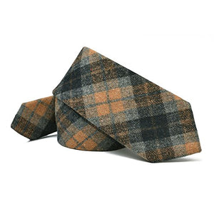 AIRTAILORS ™ MENS BROWN CHECKED SKINNY WOOLEN NECK TIE