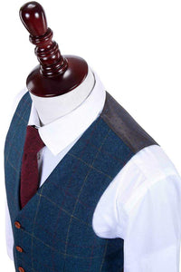 AIRTAILORS OVER CHECKED BRITISH STYLE TWILL VEST 3 PIECES SET