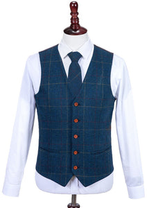 AIRTAILORS™ OVER CHECKED BRITISH STYLE TWILL VEST 3 PIECES SET - Airtailors