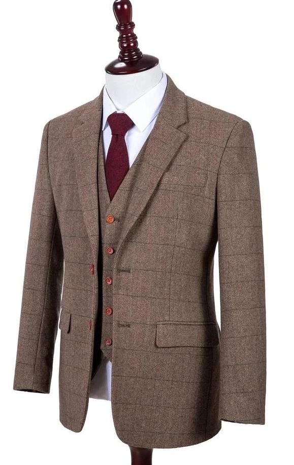 TRADITIONAL BROWN ESTATE HERRINGBONE TWEED 3 PIECES