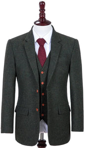 AIRTAILORS GREEN DONEGALE TWEED 3 PIECE
