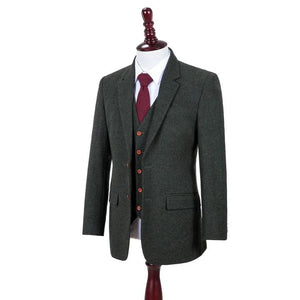 AIRTAILORS™ GREEN DONEGALE TWEED 3 PIECE