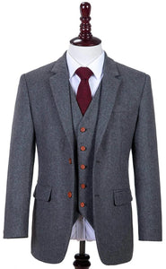 AIRTAILORS GREY TWILL MENS 3 PIECE SUITS