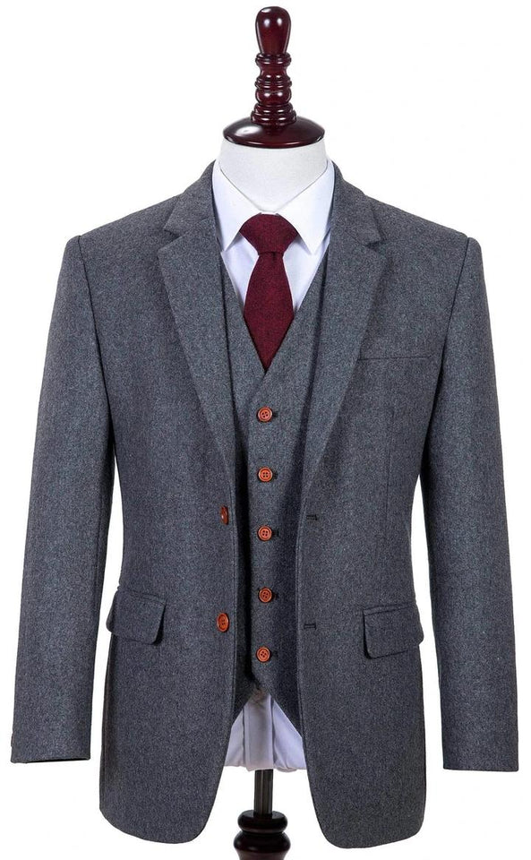 AIRTAILORS™ GREY TWILL MENS 3 PIECE SUITS